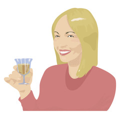 A blond girl in a red blouse smiling with white teeth and holding a glass of white wine in her hand vector illustration.