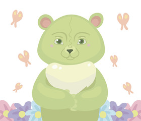 Teddy bear cartoon green color stands in the center, around fly a pink butterfly and grow flowers isolated on white background vector illustration.