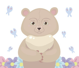 Teddy bear cartoon pink light color stands in the center, around fly a blue butterfly and grow flowers isolated on white background vector illustration.
