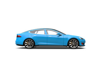 Bright sky blue electric sports car - side view