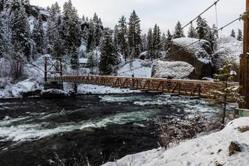 Swinging Bridge at Riverside State Park. Washington, State