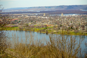 Garvin Heights Park stone overlook with spectacular view of the Mississippi Valley surrounding Winona, Minnesota
