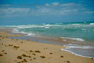 Beautiful sandy beach with waves and blue sky with clouds at New Smyrna Beach in Florida