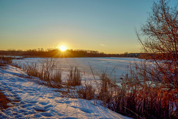 Beautiful winter sunset at Purgatory Creek Park in Minnesota