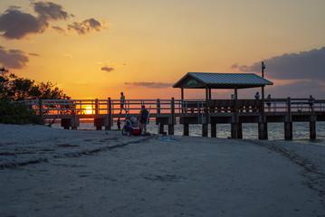 Scenic Brilliant Sunset at Sanibel Pier in Florida