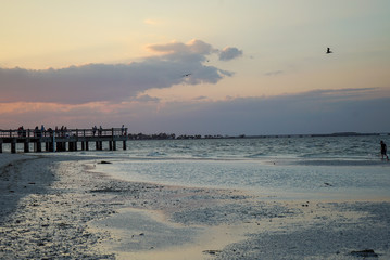 Brilliant Sunset at Sanibel Pier on Sanibel Island in Florida
