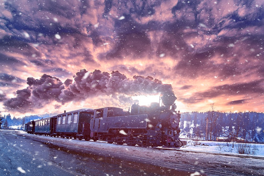 Mocanita,the steam train from Bucovina travel in winter time