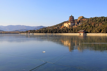 Tower of Buddhist incense and frozen Kunming lake