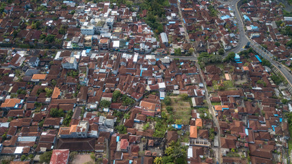 Aerial view from the drone to Semarapura city roofs and roads.Located on theBali island,Indonesia