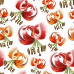 Bezszwowy deseń ilustrujący kwitnące lilie rozsypane na izolowanym białym tle.