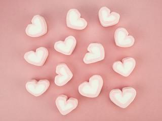 dessert heart on pink background