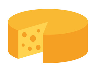 Yellow round Swiss, emmental or Gouda cheese wheel flat vector icon for food apps and websites
