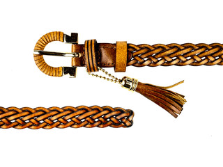 woven belt brown isolated