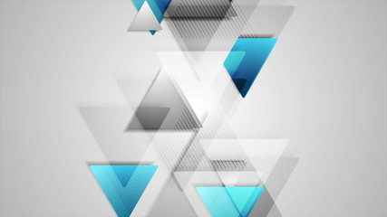 Blue and grey triangles tech abstract background