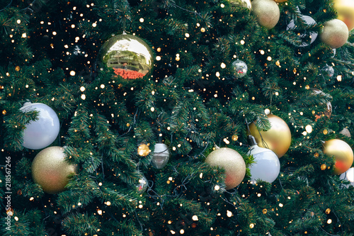 vintage christmas tree with gold ball ornament and decoration sparkle light christmas and new