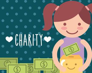 little girl with cardboard box money kawaii charity vector illustration
