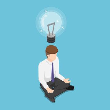 Isometric businessman doing meditation and get new idea