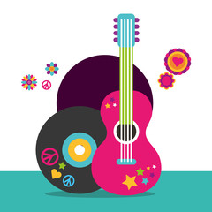musical guitar and vinyl disc flowers hippie free spirit vector illustration