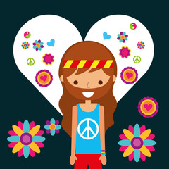 hippie man character in love heart flowers vector illustration