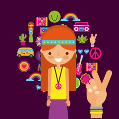 hippie woman character hand peace and love vector illustration