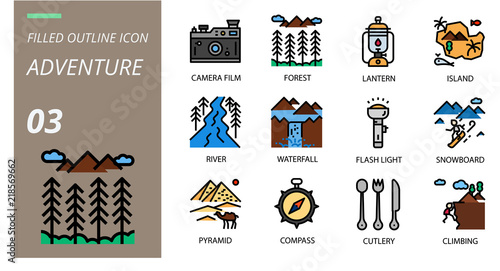 Filled Outline icon pack for adventure, camera film, forest