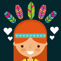 hippie woman cartoon feathers retro vector illustration