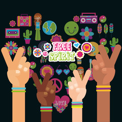 multiracial hands peace and love fre spirit vector illustration