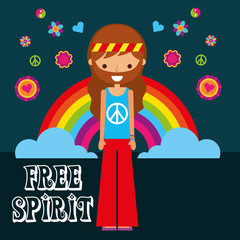 hippie man rainbow flowers free spirit vector illustration