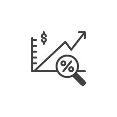 Financial analytics vector icon. filled flat sign for mobile concept and web design. Growth report and percentage magnifier simple solid icon. Symbol, logo illustration. Pixel perfect vector graphics
