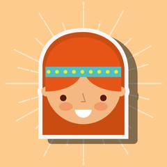 hippie face girl profile cartoon vector illustration