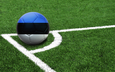 soccer ball on a green field, flag of Estonia