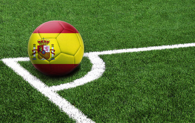soccer ball on a green field, flag of Spain