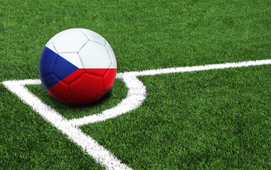 soccer ball on a green field, flag of Czech Republic