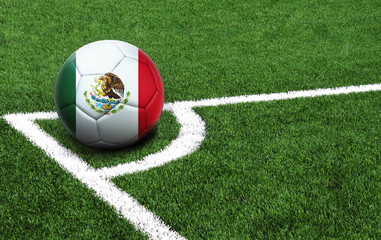 soccer ball on a green field, flag of Mexico