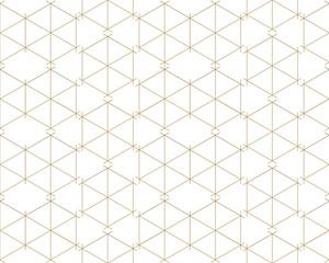 Gold geometric pattern vector. Line background. Wallpaper, tile design.