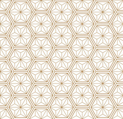 Gold oriental pattern vector. Line background.