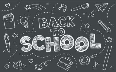 Back to school concept with objects on blackboard poster in doodle style.