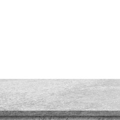 Empty stone table top on isolated white, Template mock up for display of product.