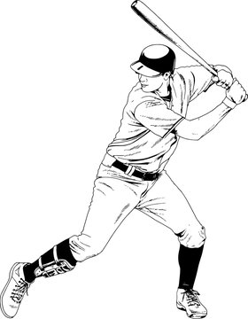baseball player with a bat in the pose drawn with ink hand sketch