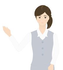 受付の女性(微笑み・案内・説明)