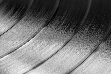 close-up of a black retro record surface