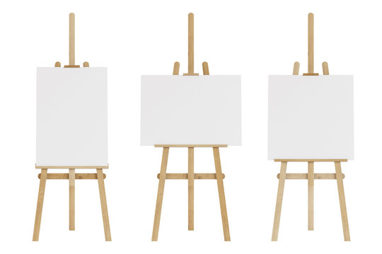 Set of wooden easels with empty mockup. Isolated on white background. 3D rendering.