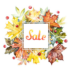 Autumn sale discount banner. Watercolor frame with bright autumn leaves and berries on a white background