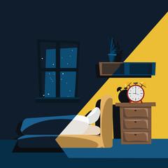 bedroom at night vector illustration
