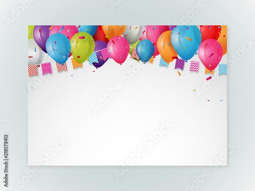 Happy Birthday Greeting Card Design With Confetti Stockfotos Und