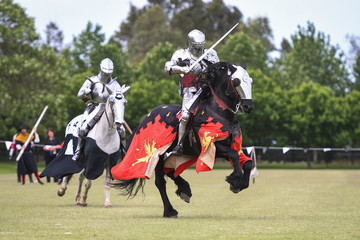 Two medieval knights confront during jousting tournament