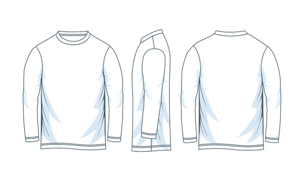 Blank long sleeve t shirt. front look side and back.