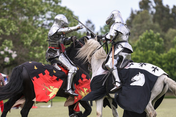 Two medieval knights confront during jousting tournament Wall mural