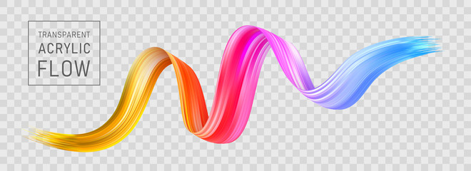 Colorful flow poster transparent. Brushstroke wave
