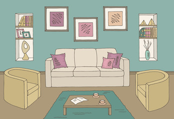 Living room graphic color home interior sketch illustration vector